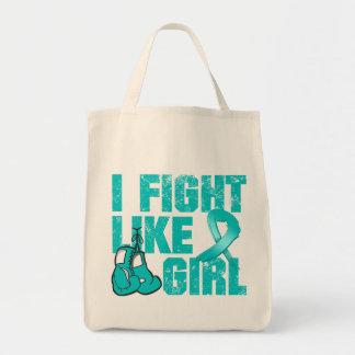 Peritoneal Cancer I Fight Like A Girl (Grunge) Canvas Bag