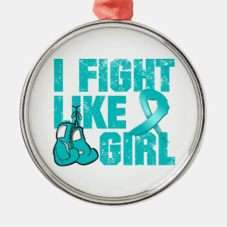 Peritoneal Cancer I Fight Like A Girl (Grunge) Round Metal Christmas Ornament