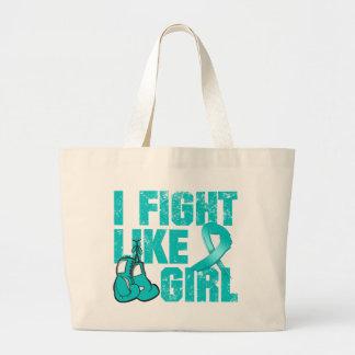 Peritoneal Cancer I Fight Like A Girl (Grunge) Bags