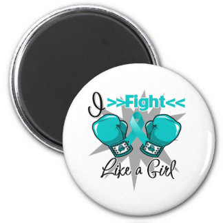 Peritoneal Cancer I Fight Like a Girl With Gloves Refrigerator Magnets