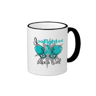 Peritoneal Cancer I Fight Like a Girl With Gloves Ringer Mug