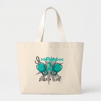 Peritoneal Cancer I Fight Like a Girl With Gloves Jumbo Tote Bag
