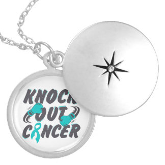 Peritoneal Cancer Knock Out Cancer Round Locket Necklace