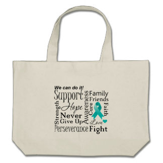 Peritoneal Cancer Supportive Words Canvas Bag