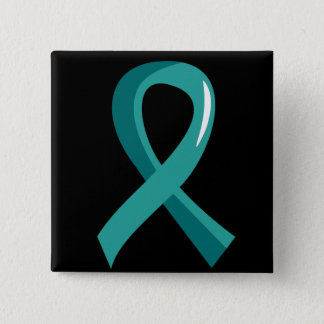 Peritoneal Cancer Teal Ribbon 3 15 Cm Square Badge