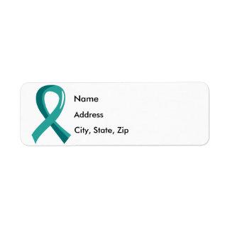 Peritoneal Cancer Teal Ribbon 3 Return Address Label