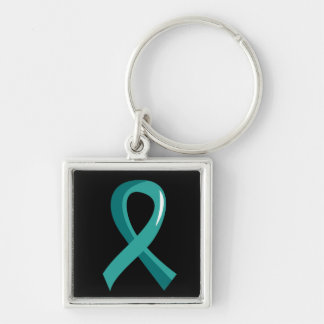 Peritoneal Cancer Teal Ribbon 3 Silver-Colored Square Key Ring