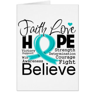 Peritoneal Cancer Typographic Faith Love Hope Greeting Card