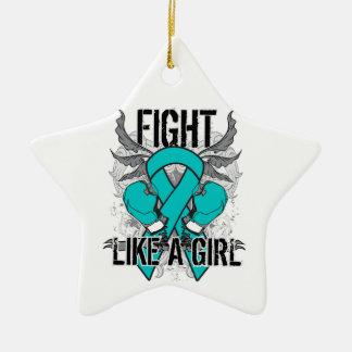 Peritoneal Cancer Ultra Fight Like A Girl Ornament