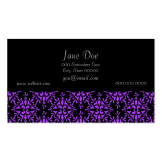 Periwinkle and Black Damask Pattern Pack Of Standard Business Cards