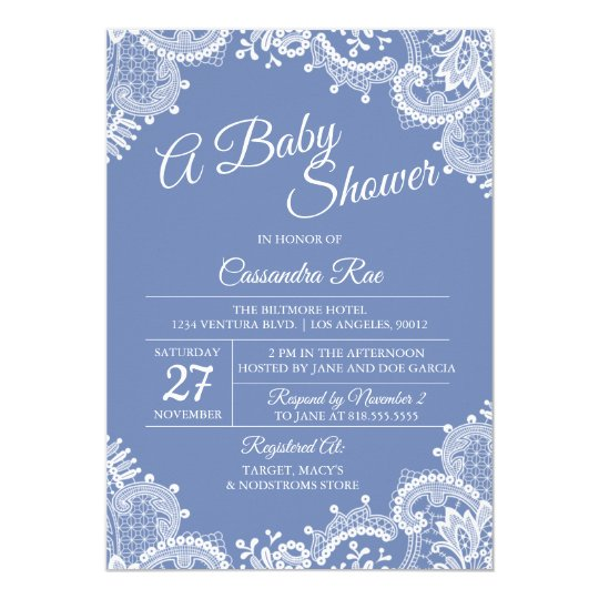 Periwinkle and Lace Baby Shower Invitation