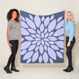 Periwinkle and Mid-Purple Floral Burst Fleece Blanket