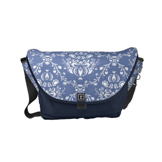 Periwinkle and Midnight Blue Damask Courier Bag