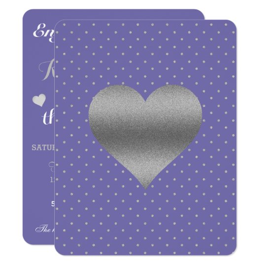 Periwinkle And Silver Heart & Polka Dot Party Card