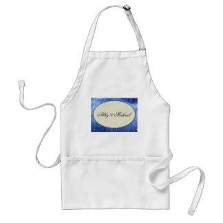 Periwinkle blue and ivory custom design apron