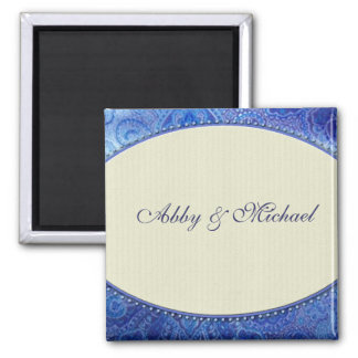 Periwinkle blue and ivory custom design refrigerator magnets