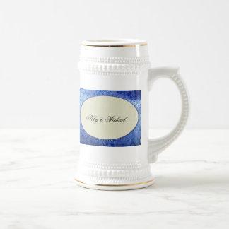 Periwinkle blue and ivory custom design mug
