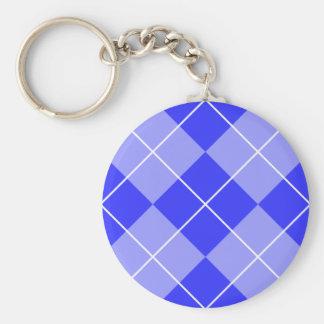 Periwinkle Blue Argyle Basic Round Button Key Ring