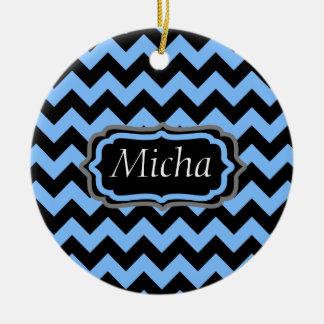 Periwinkle Blue & Black Chevron Monogram Christmas Ornaments