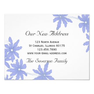 Periwinkle Blue Daisies New Address Card