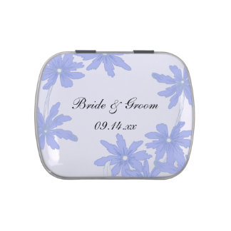 Periwinkle Blue Daisies Wedding Favor Candy Tin
