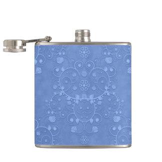 Periwinkle Blue Fancy Damask Pattern Flasks