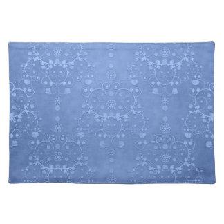 Periwinkle Blue Fancy Damask Pattern Placemats