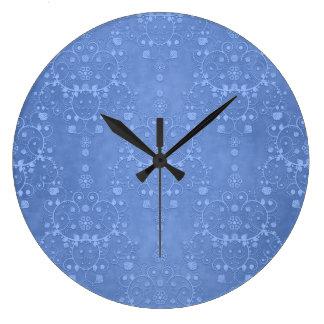 Periwinkle Blue Fancy Floral Damask Pattern Wallclocks