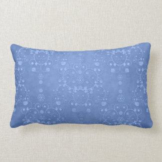 Periwinkle Blue Fancy Floral Damask Pattern Throw Pillows