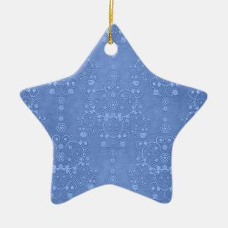 Periwinkle Blue Fancy Floral Damask Pattern Christmas Ornament