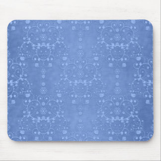 Periwinkle Blue Fancy Floral Damask Pattern Mouse Pad