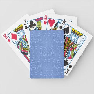 Periwinkle Blue Fancy Floral Damask Pattern Poker Cards