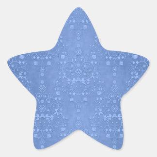 Periwinkle Blue Fancy Floral Damask Pattern Star Stickers