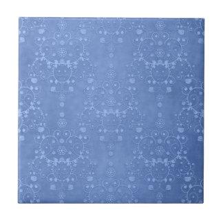 Periwinkle Blue Fancy Floral Damask Pattern Ceramic Tile