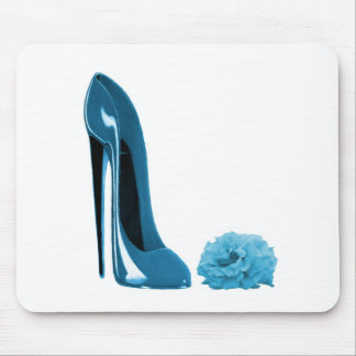 Periwinkle Blue Stiletto Shoe and Rose Mouse Mat