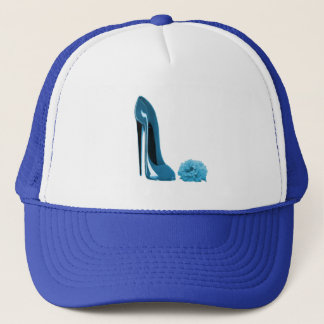 Periwinkle Blue Stiletto Shoe and Rose Trucker Hat