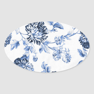Periwinkle Blue Vintage Floral Toile No.5 Oval Sticker