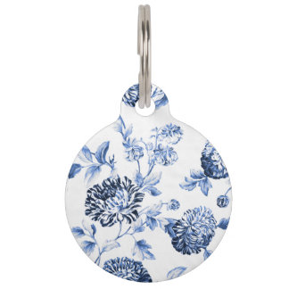Periwinkle Blue & White Botanical Floral Toile Pet Name Tags