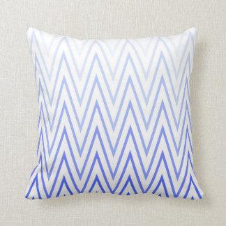 Periwinkle Blue White Gradient Chevron Pattern Cushion