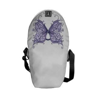 Periwinkle Cancer Ribbon with Butterfly Wings Commuter Bags