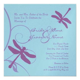 Periwinkle Dragonfly Wedding Invitation