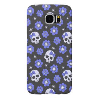 Periwinkle Flower Power Skulls Samsung Galaxy S6 Cases