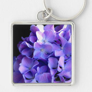 Periwinkle Hydrangea Silver-Colored Square Key Ring