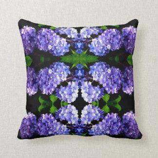 Periwinkle Hydrangeas mandala Cushion