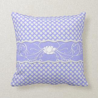 Periwinkle Lavender Blue and White Polkadot  Rose Cushion