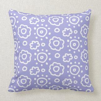 Periwinkle Lavender White Floral Pattern Pillow