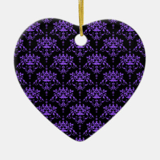 Periwinkle Purple and Black Damask Ornament