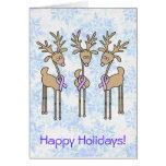 Periwinkle Ribbon Reindeer Greeting Card