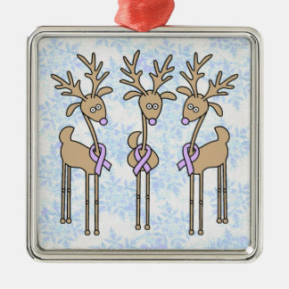 Periwinkle Ribbon Reindeer (Stomach Cancer) Christmas Ornament