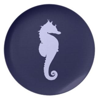 Periwinkle Sea Horse Plate